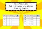 Read Write Inc Set 1 - Sounds and Words Spelling Sheets