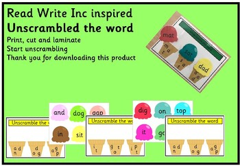 Read Write Inc Inspired Unscrambled 1 2 Word By Fine Things Tpt