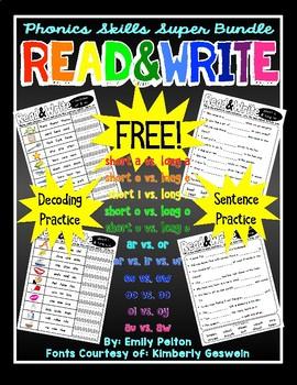 Read & Write K / 1st / 2nd Phonics Super Bundle (Decoding / Sentences) - FREE!