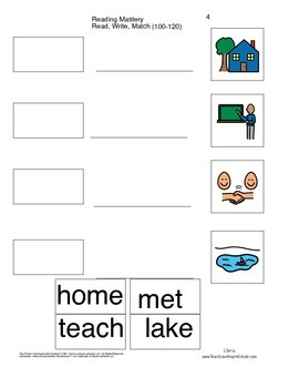 Read Write Match - Reading Mastery K Lessons 100-120