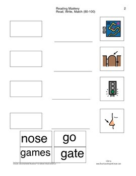 Read Write Match - Reading Mastery K Lessons 80-100