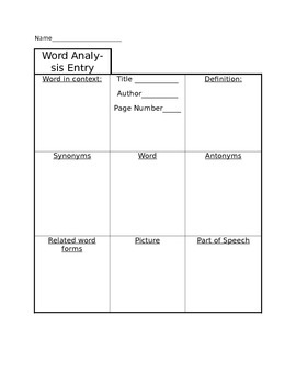 Read, Write Revise: Word Analysis Entry