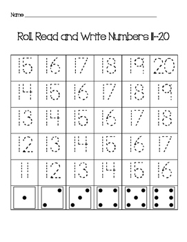 Roll Read and Write Numbers in the Teens