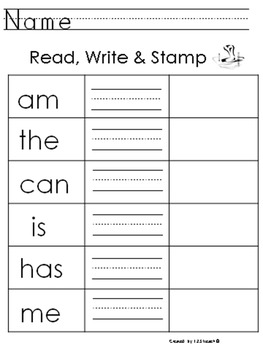 Read, Write & Stamp Sight Words