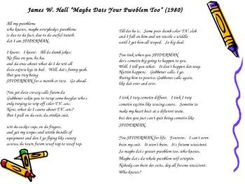 Read & Write Using Formal vs.Informal Language ~ James Hall Superman Poem