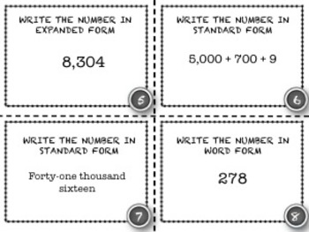 Read & Write Whole Numbers - 28 Common Core Aligned Middle Grades Cards