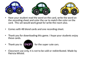 Read Write and Color Blend Cars - Blends fl, cl, gl, dr, st, gl