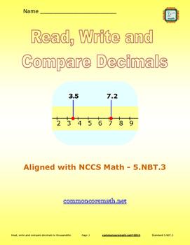 Read, Write and Compare Decimals - 5.NBT.3