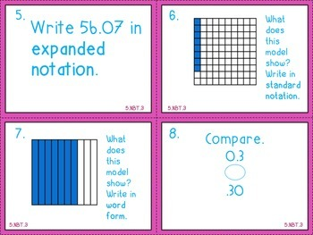 Read, Write, and Compare Decimals (5.NBT.3) Task Cards