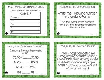 Read, Write, and Compare Decimals Task Cards Freebie for 5th Grade