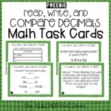 5th Grade Read, Write, and Compare Decimals Task Cards Freebie