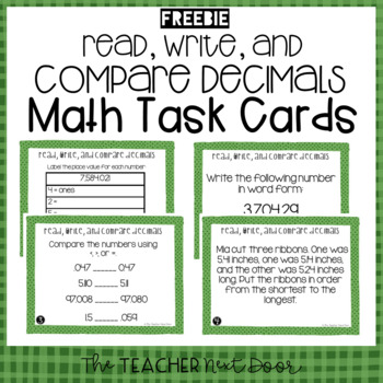 Read, Write, and Compare Decimals Task Cards Freebie for 5