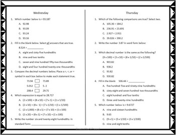 Read, Write and Compare Decimals Practice Sheets