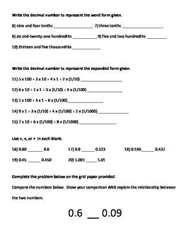 Decimals: Read, Write, Compare Tests and Pre-Tests 5th Grade Math Common Core