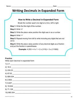 Decimals: Read, Write, Compare Unit Bundle - Practice, Homework and Tests