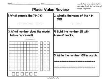 Read, Write, and Identify Place-Value in Two- and Three-Digit Numbers