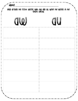Read, Write, and Sort with AU and AW- FREEBIE