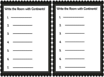 Write the Room with Continents!