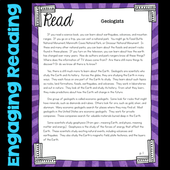Read about Geologists - Changing Earth - Fourth Grade Science Station