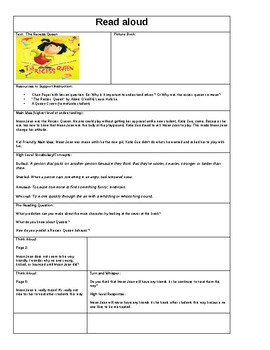 "Read aloud Lesson Plan ""The Recess Queen"" by: Alexis O'neill"
