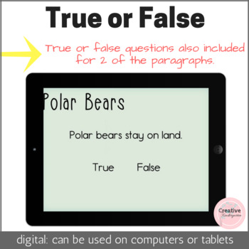 Read and Answer Comprehension Questions Digital Task Cards with BOOM Cards