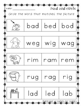 Read and Circle - Short Vowel