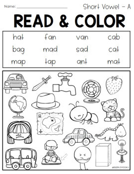 Read and Cover Color Short Vowels