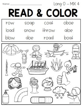 Read and Cover Color Vowel Teams O
