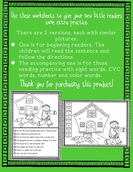 Christmas Read and Color: Simple Sentences - Printables for Beginning Readers