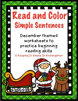 Christmas Read and Color: Simple Sentences - Printables fo
