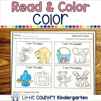 Read and Color Worksheets: Beginning Sounds