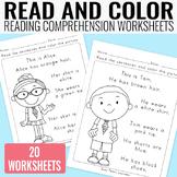 Read and Color Reading Comprehension Worksheets - Grade 1 / Kindergarten