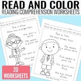 Read and Color Reading Comprehension Worksheets - Grade 1 / Kindergarten