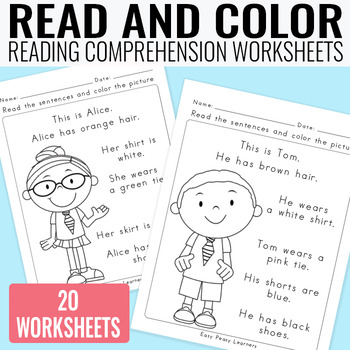 Read and Color Reading Comprehension Worksheets - Grade 1 ...