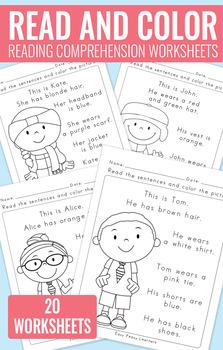 Read And Color Reading Comprehension Worksheets Grade 1 Kindergarten