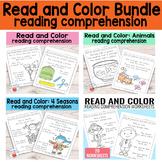 Read and Color Reading Comprehension Worksheets K & Gr 1 {Bundle}