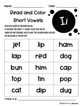 Read and Color Short Vowel Words Printables with Mystery Pictures