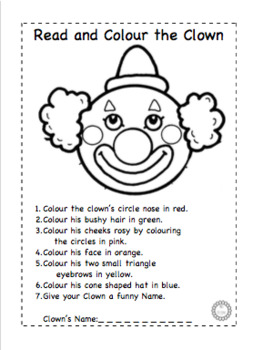 Read and Colour a Clown