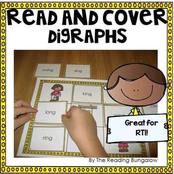 Read and Cover {Digraphs Edition - ch, tch, sh, th, wh, dge, ge, ce, ng, ck}