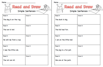 Read and Draw Sentences CVC words