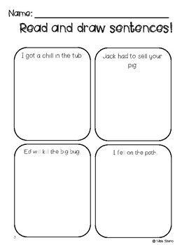 Read and Draw Sentences- Double Consonant Words