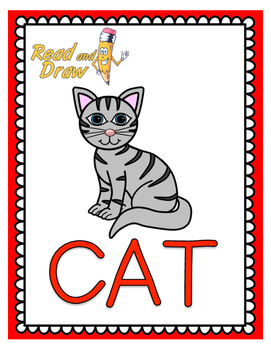 Read And Draw Single Word Vocabulary Printable Cat By Read And Draw