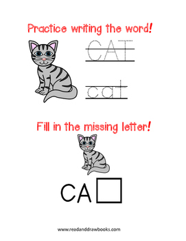 Read and Draw Single Word Vocabulary Printable: CAT