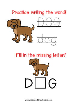 Read and Draw Single Word Vocabulary Printable: DOG