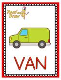 Read and Draw Single Word Vocabulary Printable: VAN