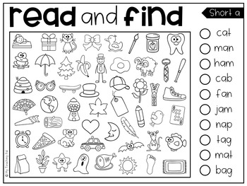 Read and Find Picture Puzzles - Short Vowels and Long Vowels