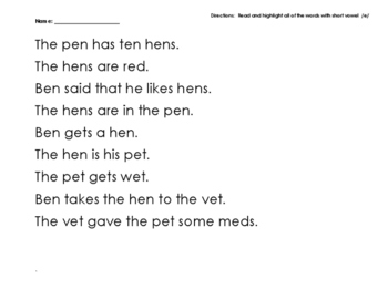 Read and Find Short Vowel E Words