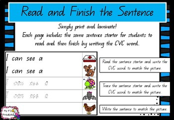 Read and Finish the Sentence - CVC words (Qld Font)