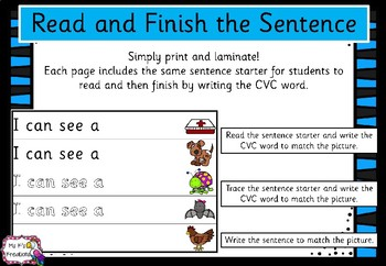 Read and Finish the Sentence - CVC words (Sassoon font)