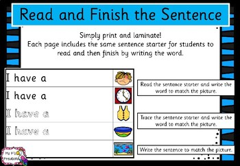 Read and Finish the Decodable Sentence - Sassoon Font